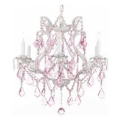 "The Gallery - WHITE WROUGHT IRON CRYSTAL CHANDELIER LIGHTING WITH PINK CRYSTALS! H 19"" W 20"" - A Great European Tradition. Nothing is quite as elegant as the fine crystal chandeliers that gave sparkle to brilliant evenings at palaces and manor houses across Europe. This beautifully unique version from the Maria Theresa Collection has 100% Crystals that capture and brilliantly reflect the light of the candle bulbs which sit in a leaf design bobache. The frame is all hand-forged wrought iron, adding the finishing touch to a wonderful fixture. The timeless elegance of this chandelier is sure to lend a special atmosphere anywhere its placed! SIZE: H.19"" W.20"" 6 LIGHTS.Assembly Required."