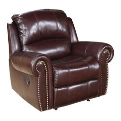 Abbyson Living - Abbyson Living Riverside Two-tone Burgundy Reclining Italian Leather Armchair - With decades of experience in transitional to modern furniture design and affordable manufacturing costs, Abbyson Living has brought forth a new sense in designer furniture. The design accents the rich leather with an eye-opening contemporary flair that feels at home in any decor. This collection combines contemporary styling with remarkable seating comfort.