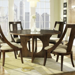 Somerton Dwelling Manhattan Pedestal Dining Table - With oval cut-outs in the pedestal base and a flush-top lazy Susan, the Somerton Dwelling Manhattan Pedestal Dining Table has a contemporary style that will look great with any modern decor. Built from hardwood solids and finished in walnut, this table is sturdy and durable, and seats four people comfortably. The lazy Susan has a unique stop mechanism to easily match the table's wood grain pattern. About Somerton Dwelling For over 20 years, Somerton Dwelling has meant quality furniture and a quality company. Its warehouses and distribution centers located both in the United States and China provide environmentally friendly manufacturing locations as well as mindful employment spaces. Quality materials such as eco-friendly rubberwood, solid wood, and wood veneers are used to create Somerton Dwelling pieces ... and any Somerton Dwelling furnishing you choose will make a welcome, stylish addition to your home.