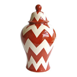 Zigzag Tibor - Make a big impact in any size room. Studio apartments and spacious living rooms alike will benefit from this captivating tibor, a Mexican ginger jar or urn. Used alone or as a striking vase,  the classic chevron pattern and Talavera Vazquez's timeless design add cultural and visual richness to your home.