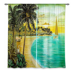 "DiaNoche Designs - Window Curtains Lined - Mark Watts Tropic Cove - Purchasing window curtains just got easier and better! Create a designer look to any of your living spaces with our decorative and unique ""Lined Window Curtains."" Perfect for the living room, dining room or bedroom, these artistic curtains are an easy and inexpensive way to add color and style when decorating your home.  This is a woven poly material that filters outside light and creates a privacy barrier.  Each package includes two easy-to-hang, 3 inch diameter pole-pocket curtain panels.  The width listed is the total measurement of the two panels.  Curtain rod sold separately. Easy care, machine wash cold, tumbles dry low, iron low if needed.  Made in USA and Imported."