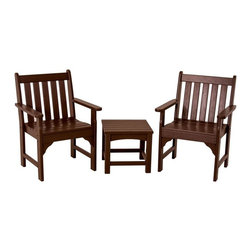 Polywood - 3-Piece Eco-friendly Chair and Table Set in Mahogany - Solid, heavy-duty construction withstands natures elements. Enjoy the luxury and richness of wine country in your own backyard with the Polywood Vineyard 3-Piece Garden Chair Set. This set is perfectly paired to create the ultimate outdoor seating area. The chairs are roomy and contoured for extra comfort and the side table is just the right size for a tray of tasty appetizers and an extra bottle or two of Chardonnay. This durable, fade- and stain-resistant set is built to last. Polywood lumber requires no painting, staining, waterproofing, or similar maintenance. It does not splinter, crack, chip, peel or rot and it is resistant to corrosive substances, insects, fungi, salt spray and other environmental stresses.