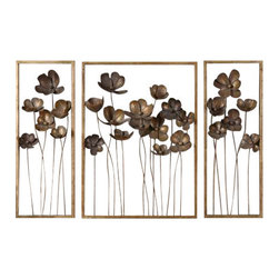 Uttermost Metal Tulips Wall Art Set/3 - Antiqued gold leaf with a charcoal gray wash. This set of decorative wall art is made of hand forged metal finished in antiqued gold leaf with a charcoal gray wash. Sizes: sm-10x27x4, lg-20x27x4