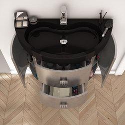 "Macral Sena 32"" bathroom vanity with storage. Silver. - Sena bathroom vanity 32""."