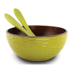 Enrico - Casual Dining Serving Bowl with 2 Servers - Hand-carved. Easy care food-safe. Hand wash for best results. Cleans up easily. Made from environmentally-friendly reclaimed mango wood. Dark brown and Lacquer finish. Made in Thailand. 11 in. Dia. x 5 in. H (2.5 lbs.). Interior damp rated for use. Warranty: 90 days limited. Casual dining collectionThis perfect family-sized salad bowl in solid mango holds plenty of greens and really delivers with an engaging avocado green exterior that stands out on a well-dressed table. The included servers feature the same honeycomb carved surface and stylish color scheme. Each item in the Mango Avocado grouping features an enigmatic and tactile avocado honeycomb texture carved into the outer surface and a smooth interior. These are all hand-carved and finished, so each piece reflects the variations natural to handmade items. All items are finished in a food-safe lacquer. We recommend hand washing and drying for all items. The Mango tree bears fruit for about 20 to 30 years, after which time it is cut down by the farmer to make room for new seedlings. The creamy, dense mango wood is then reclaimed by local craftsmen for carving into a wide variety of beautiful products. The artisans working mango wood pay careful attention to the individuality of each and every raw slab of wood that comes into their hands and the results are wonderful. Each piece in this collection has a live edge of contrasting tree bark around the rim which reminds one that each tree has a character and texture all its own.