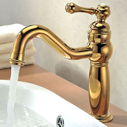 Bathroom Faucets - Ti-PVD Finish Solid Brass Single Handle Contemporary Bathroom Faucet-- FaucetSuperDeal.com