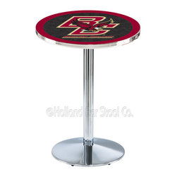 Holland Bar Stool - Holland Bar Stool L214 - Chrome Boston College Pub Table - L214 - Chrome Boston College Pub Table belongs to College Collection by Holland Bar Stool Made for the ultimate sports fan, impress your buddies with this knockout from Holland Bar Stool. This L214 Boston College table with round base provides a commercial quality piece to for your Man Cave. You can't find a higher quality logo table on the market. The plating grade steel used to build the frame ensures it will withstand the abuse of the rowdiest of friends for years to come. The structure is triple chrome plated to ensure a rich, sleek, long lasting finish. If you're finishing your bar or game room, do it right with a table from Holland Bar Stool. Pub Table (1)