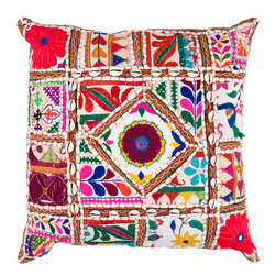 Surya Rugs - 22-Inch Square Multi-Color Bohemian Cotton Pillow Cover with Down Insert - - 22 x 22 100% Cotton Pillow Cover w/ Down Insert.   - For more than 35 years Surya has been synonymous with high quality innovation and luxury.   - Our designers have masterfully created some of the most cutting edge and versatile pieces to bring out the best in every room.   - Encompassing their expert understanding of the latest trends in fashion and interior design each product is a perfect combination of color pattern and texture to accommodate the widest range of tastes.   - With Surya the best in design and quality is at your fingertips.   - Pantone: Spring Green Deep Sea Green Blue Corn Raisin Magenta Venetian Red Paprika Burnt Orange Orange Peel Sienna Charcoal Gray Putty Papyrus.   - Made in India.   - Care Instructions: Spot Clean.   - Cover Material: 100% Cotton.   - Fill Material: Down. Surya Rugs - AR068-2222D
