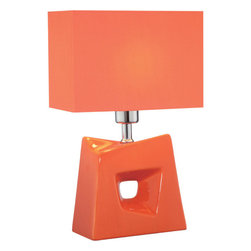 Lite Source - Table Lamp - Orange/Orange Fabric Shade - Table Lamp - Orange/Orange Fabric Shade