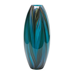 Multicolor Blue Peacock Feather Vase - *Peacock Feather Vase
