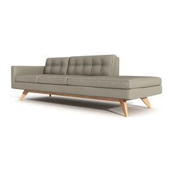 True Modern - Luna One Arm Sofa with Chaise, Mouse - It's 50 percent sofa, 50 percent chaise, and 100 percent comfortable. Taking a cue from the past to create an innovative look that's so modern, this furniture piece will stand out in your living room and attract more behinds than a stadium bleacher seat.