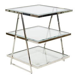 Worlds Away - Worlds Away 3 Tier Square Nickel Plated Table with Beveled Glass Tops JARMON N - Worlds Away 3 Tier Square Nickel Plated Table with Beveled Glass Tops JARMON N