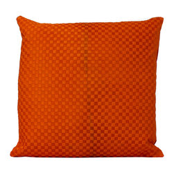 Fandindo - South American Hair-On Cowhide Engraved Pillow, Orange (Insert not included) - This is a wonderful hie piece carefully engraved using  italian old pressing technology making it geometric pattern more sleek.