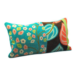 Crewel Work Lumbar Pillow With Leaf Design, Blue - Made in India. Cotton/polyfill. Dry clean only.
