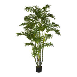Nearly Natural - 5' Areca Silk Tree - Bring the great outdoors to your living room, office, or den with this beautiful 5' Areca Silk Tree. With several strong, sturdy stalks reaching skyward, each ending in an explosion of cascading green leaves, this specimen will have you listening for birds chirping and pining for cool breezes. Perfect for an entryway, a corner that needs some life, or even makes an ideal gift for that hard to buy for person.