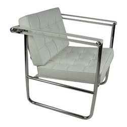 Fine Mod Imports - Celona Chair White - Loft-worthy in luxurious leather. High-polished stainless steel tubing, unique belt strap arms and quality tufted leather cushions give this chair its standout sophistication. Add class and comfort to your favorite contemporary setting with this iconic armchair.