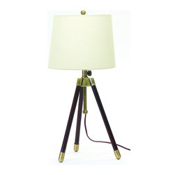 """House of Troy - Adjustable Tripod Table Lamp Antique Brass - Dimensions: 27""""-32""""D, 13""""W, 13""""D. Shade Size: 11"""" x 13"""" x 10"""""""