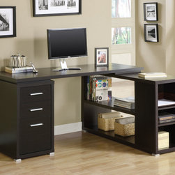 """Monarch - Cappuccino Hollow-Core L Shaped Computer Desk - This hollow-core """"L"""" shaped computer desk will be a stunning focal point in your contemporary home office. This simple and stylish piece features clean sharp lines, in a deep cappuccino finish. The shell writing desk offers a spacious work surface that is great for doing paperwork, or using a computer. The secondary surface offers an additional work space, and extra shelves that can be used for a printer or other important items. This piece also features a matching file cabinet that keeps your desk supplies organized, with two medium storage drawers and a convenient lateral file drawer below. Its silver colored handles and feet boldly accent the piece making it a must-have for any home.;Features: Color: Cappuccino;Weight: 141 lbs.;Dimensions: 60""""L x 47.25""""W x 29.5""""H"""