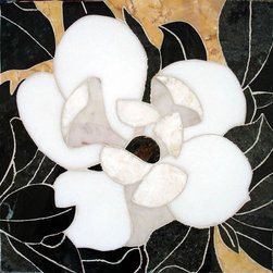 Flower handcrafted  marble mural - size:12x12