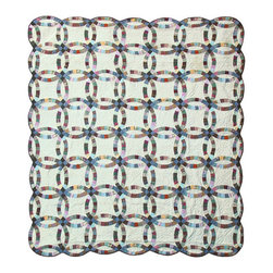 Patch Quilts - Country Wedding Ring, Duvet Cover Twin - Beautifully crafted cover with intricate applique. Machine washable, line or flat dry only. Patch Quilts - DCTCWR