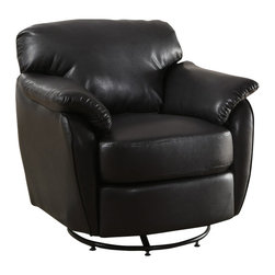Monarch Specialties - Monarch Specialties 8064 Leather-Look Swivel Accent Chair in Black - Whether standing alone or used to accent a full living room ensemble, this chair will bring optimal comfort and exceptional style to your home. Designed with an overstuffed padded back, seat and arms that creates for a unique lounge chair shape, this accent chair has a sleek yet gentle contemporary style that will stand out in any room. Raised on polished chrome plated swivel base and draped in a rich Black leather-look upholstery, this chair's chic modern vibe is only further emphasized. Gentle to the eye and to the touch, this chair is stuffed with a generous amount of foam for soft support you will be just dying to sink into.