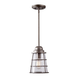 None - Starke 1-light Pewter Pendant - An architectural classic, the Starke single-light pendant heralds its craftsman roots by emphasizing clean geometric shapes. The pewter finish pairs with clear glass to create a truly stunning look.