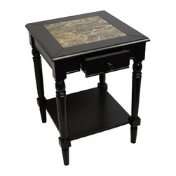 """Convenience Concepts - French Country Faux Marble Top End Table - The End Table is the perfect choice to spruce up the living room. It will add that touch of class you've been looking for. Crafted from wood veneer and faux marble, it will compliment any decor.; Easy Assembly Tools Provided; Features 1 Drawer; Bottom Shelf; Elegant Faux Marble Finish; Will Provide Years of Enjoyment; No Lead content.; Country of Origin: China; Weight: 20.24 lbs; Dimensions: 24""""H x 18""""W x 18""""D"""