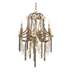 Currey and Company - Padma Chandelier - The Padma Chandelier beautifully combines Jaipur Gold hand beading along with pearlesque swags and shell flowers. The ultimate in feminine elegance, the Padma Chandelier is an exquisite piece. Takes five 60 watt bulbs.