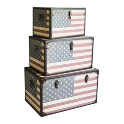 Screen Gems - Americana Trunks, Set of 3 - Organize your photos, paperwork or travel treasures in this stack of decorative boxes. The American flag motif will add a beautifully patriotic touch to your office, den or living room. They make a stylish and useful addition to your eclectic home.