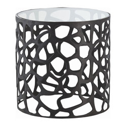 Arteriors - Ennis Side Table - With free-form cutouts, this glass-topped, drum-shaped iron side table has a bit of an industrial edge. And since black goes with everything, it's ready to add some pizzazz poolside, bedside or your favorite cozy chair-side.