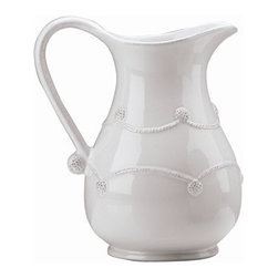 "Juliska - Juliska Berry and Thread Large Pitcher Whitewash - Juliska Berry and Thread Lg. Pitcher Whitewash.Grace any table with this large pitcher's romantic silhouette. Sized for entertaining, fill it with beverages or picturesque bouquets of flowers for springtime brunches, suppers in the country, or outdoor dining under canopies of leaves. To give your kitchen a little flair - use it on your counter to store utensils. Dimensions: 10"" H Capacity: 3 Qt"
