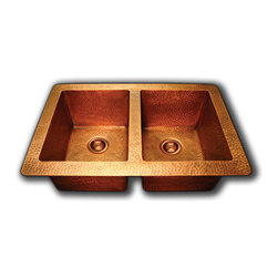 TCS Home Supplies - Hand Hammered Finish Copper 50/50 Double Bowl Undermount / Drop In Kitchen Sink - *High quality heavy duty 16 gauge  copper