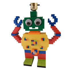 MR Brick Designer - LEGO Robot Lamp - This multi color robot will keep your child company with his fun googly eyes and spinning belt buckle.