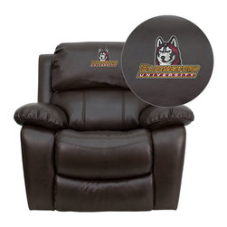 "Flash Furniture - Bloomsburg University Huskies Embroidered Brown Leather Rocker Recliner - Recline in your favorite position with this comfortably designed recliner. Proudly show off your favorite college team with this embroidered rocker recliner. The gentle rocking movement along with plush padding will have you at ease in moments!; Embroidered Bloomsburg University Recliner; Logo Embroidered on Interchangeable Headrest; Overstuffed Padded Seat, Back and Arms; Brown Leather Upholstery; Rocker Feature; Lever Recliner; Meets or Exceeds CA117 Fire Resistance Standards; Assembly Required: Yes; Country of Origin: China; Warranty: 2 Years; Weight: 112 lbs.; Dimensions: 39""H x 43""W x 40 - 66""D"