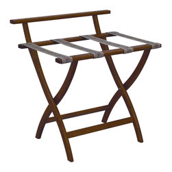 """Wooden Mallet - Luggage Rack w Tapestry Webbing in Medium Oak - Our unique """"Wall Saver"""" feature prevents costly wall damage. Has multiple uses when it doubles as a breakfast tray holder or blanket stand. Folds flat and is easily stored in a closet or against a wall when not in use. Four 2 in. woven straps support heavy suitcases. Graceful, curved legs add a designer flair. Rated to hold suitcases up to 100 lbs.. Built using solid oak construction and state-of-the-art finish for heavy use and lasting beauty.  Made in the USA. No assembly required. All Wooden Mallet products are warranted for 1 year against defects in materials and workmanship. Overall: 29.5 in. L x 23.75 in. W x 18 in. H (7 lbs.). Open: 29.5 in. L x 23.75 in. W x 18 in. H. Closed: 29.5 in. L x 23.75 in. W x 4.5 in. HGive your guest room the feeling of a four star hotel with this beautiful luggage rack. Built using solid oak and sturdy webbing, even the heaviest suitcases are easily supported by the four 2 in. wide woven straps. Our unique """"Wall Saver"""" feature prevents costly wall damage. This luggage rack has multiple uses when it doubles as a breakfast tray holder or blanket stand. These luggage racks fold and unfold easily. Take it out for guests, and then fold it up for easy storage. It is also a great in the master bedroom for packing suitcases for business trips or vacations."""