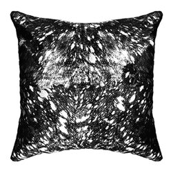 "BrandWave - Natural Cow Hide Pillows, 18"" Square, Black and Silver Foil - This beautiful collection of pillows is hand-made from some of the finest Indian cowhide. Each piece is a one-of-a-kind work of art. The material is all natural and selected individually for the perfect color and texture. India is a Hindu state, and cows are sacred. As cows die from natural causes, the Indian government collects the leather, and we are able to implement it into our products."