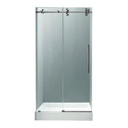 "VIGO Industries - VIGO 48-inch Frameless Shower Door 3/8"" Clear/Stainless Steel Hardware with Base - Make your bathroom an oasis with a VIGO frameless shower door with matching 48"" x 32"" shower base."