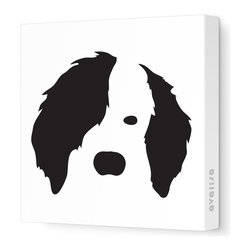 "Avalisa - Animal Face - Dog Stretched Wall Art, 18"" x 18"", Black - You've heard of Warhol, but here's some pup art for your wall. Stylized and graphic, each dog is printed in your choice of rainbow colors on white fabric in the size that works best. Or unleash your artistic side and get four in different colors to hang in a grid-like pack."