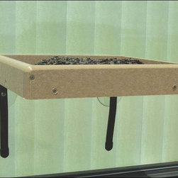 Fifthroom - Window Mount Tray Bird Feeder - Enjoy the colorful show of our feathered friends right outside your window with this window mount tray bird feeder.  Constructed from polylumber, a post-consumer recycled product made from milk jugs, plastic bottles, and packaging materials, this sustainable bird feeder will keep habitats safe while looking great.  Virtually indestructible and maintenance free, both the polylumber and the stainless steel screws will hold up to all weather conditions.