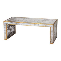 Worlds Away - Worlds Away Antique Mirror Coffee Table with Gold Leaf PARSONS G - Worlds Away Antique Mirror Coffee Table with Gold Leaf PARSONS G