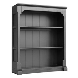 Tradewinds - Cottage Style Open Hutch / Bookcase, Black - Add functionality to your space with this well-made and practical cottage open hutch/bookcase. This wonderful furnishing piece featuring cottage furniture design can be used as a stand alone bookcase and accommodates B-100 storage baskets. It has two removable shelves plus the no crown molding on sides allows bookcases to be bunched in multiples.
