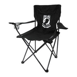 Zeckos - Pow / Mia Logo Folding Camping Chair Not Forgotten - This super cool POW / MIA logo folding camp chair has a heavy duty steel frame and a heavy 600 denier nylon seat to give you years of use. The chair holds up to 275 pounds easily, and has hard plastic feet to keep you sturdy. The feet have holes in the bottoms, so you can keep it in place with tent stakes if you wish. The chair measures 32 1/2 inches tall, 32 inches wide and 19 inches deep. This folding camp chair is brand new, never used, and makes a great gift for any Veteran. We have a limited supply of these, so don't delay. Get yours now