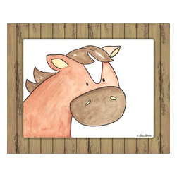 Oh How Cute Kids by Serena Bowman - Here's Looking at You - Horse with Wood Border, Ready To Hang Canvas Kid's Wall - Every kid is unique and special in their own way so why shouldn't their wall decor be so as well! With our extensive selection of canvas wall art for kids, from princesses to spaceships and cowboys to travel girls, we'll help you find that perfect piece for your special one.  Or fill the entire room with our imaginative art, every canvas is part of a coordinating series, an easy way to provide a complete and unified look for any room.