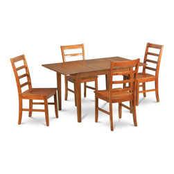 """East West Furniture - Milan 5Pc Set with Table and 4 Parfait Ladder Back Wood Seat Chairs - Milan 5Pc Set with Rectangular Table with 12 In Butterfly Leaf and 4 Ladder Back Wood Seat Chairs; Rectangular dining table is designed in contemporary style with clean angles and sleek lines.; Table and chairs are crafted of fine Asian solid wood for quality and longevity.; Chairs are available with either wooden seats or upholstered seats to suit preference and desired motif.; Table features a standard butterfly leaf for convenient extension.; Ladder back chair style is sturdy, durable, and is ideal for classic decor in any kitchen or dining room.; Dinette sets are available in either rich Mahogany or exquisite Saddle Brown finish.; Weight: 147 lbs; Dimensions: Table: 42 - 54""""L x 36""""W x 29.5""""H; Chair: 18""""L x 18""""W x 38""""H"""