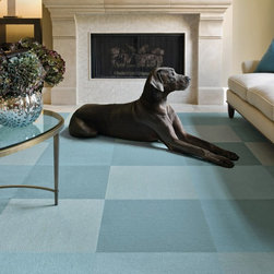 Modern Mix SU12PW FLORug, Blue, Set of 4 - I fell hard for this soft, tonal blue combination from Flor. It's so fresh yet calm. I'll take the pup, too!