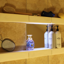 "Bathroom Clear Mirror with LED Lighting - 12x12 porcelain tile with 12x12 ""Clear Mirror"" fog free mounted in between my 3x3x12"" square ceramic shampoo shelves for a modern clean look and admire yourself  (haha)  in the mirror while washing or shaving."