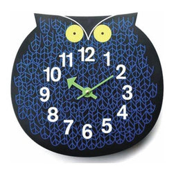 "George Nelson - Owl Clock - Finished in blue and black with yellow button eyes, this playful owl clock will be a spirited addition to any decor. Versatile enough to move from a child's room to a sitting room, the clock is battery operated with quartz movements and features bright green hands for clear visibility. Uses 1 AA battery (not included). George Nelson classic design. High-grade quartz movement. Perfect for kid's rooms . 1.25 in. D x 11 in. W x 10.25 in. H (0.66 lb.)Who's there? Omar the Owl, designed in 1965 by George Nelson, is still a hoot. Perfect for kid's rooms or anywhere you want to add some zoo-timer fun. This is quality material reproduction, quartz movement powered by one ""AA"" battery, not included."