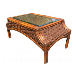 Wicker Paradise - Rattan Coffee Table - Melbourne - This coffee table has curves in all the right places. Make a statement in your room with the Melbourne rattan coffee table.