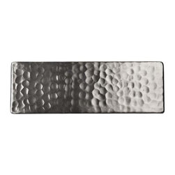 The Copper Factory - The Copper Factory Solid Hammered Copper 6 x2 Inch Accent Tile Nickel - The Copper Factory Solid Hammered Copper 6 x2 Inch Accent Tile Nickel