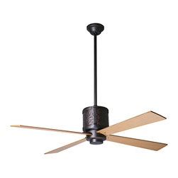 """Period Arts - Arts and Crafts - Mission 52"""" Period Arts Bodega Rubbed Bronze Ceiling Fan - The Bodega fan was inspired by early 20th Century designs of Dick Van Erp. The design stays true to the West coast Arts and Crafts movement by incorporating hammered metal and exposed rivet assembly. Although authentic in design and appearance these fans offer modern motor design electronic controls and a lifetime motor warranty. It features a rubbed bronze finish motor and maple finish blades. From the Period Arts Fan Company. Rubbed bronze finish motor. Four maple finish blades. Lifetime manufacturer motor warranty. Includes wall control. Overall height 16"""" to 24"""". Includes 5"""" and 13"""" downrods. Canopy 5 1/4"""" wide. 52"""" blade span.  Rubbed bronze finish motor.   Four maple finish blades.   Lifetime manufacturer motor warranty.   Includes 4-speed fan only wall control.  Includes hugger kit.   By Period Arts.  Overall 12"""" height.  52"""" blade span."""